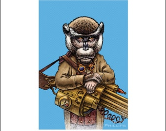 "Enrique Crimsonpoole 8"" x 10"" Steampunk Monkey Nation Whimsical Art Print- Monkey Wall Decor"