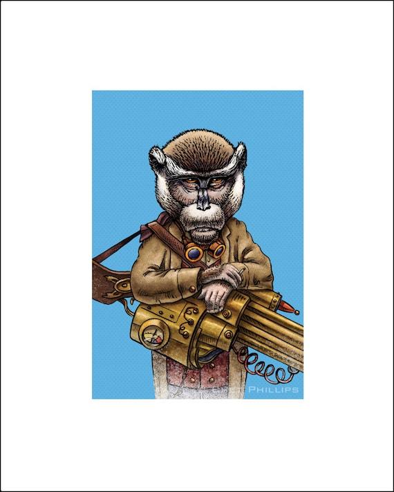 "Enrique Crimsonpoole 8"" x 10"" Steampunk Monkey Nation Whimsical Art Print- Monkey Wall Decor"