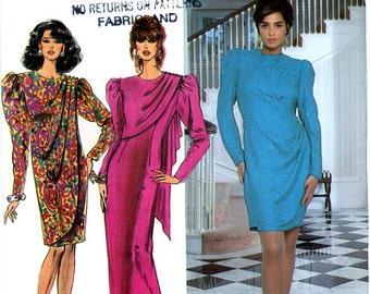 Simplicity 7573 Drape Front Slim Dress Size 8 10 12 UNCUT Vintage Sewing Pattern 1992