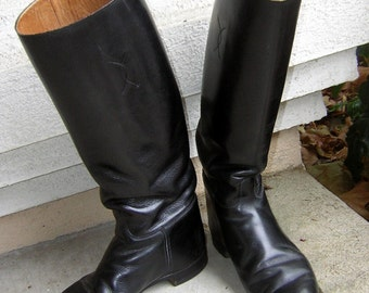 Vintage British Riding Boots - Tall Equestrian EnglishTop Quality - Womens US 7 1/2 D or Euro Size 38 REDUCED