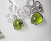 Silver Chandelier Earrings, Green Glass, Teardrop Earrings, Bohemian, Silver Tiara, Bridesmaid Earrings, Wedding Jewelry,