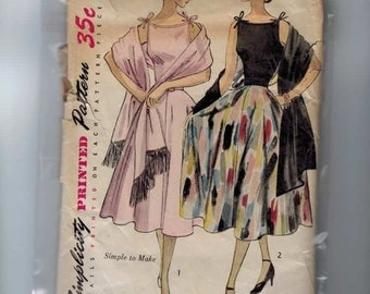 1950s Vintage Sewing Pattern Simplicity 3557 One Piece Full Skirt Party Dress Stole Pattern Size 12 Bust 30 50s