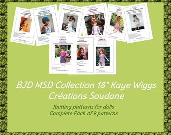 Complete collection pack of 9 PDF Knitting Patterns BJD KAYEWIGGS 18 inches dolls