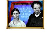 Frida Kahlo Diego Riviera Blue House Art Print Original 5x7 Signed Mixed Media Collage