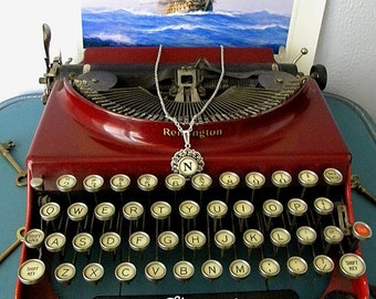 Filigree Round Typewriter Key Pendant - Initial N - Historical Charm - Antique White Key in Black Serif Font - Steampunk Twilight