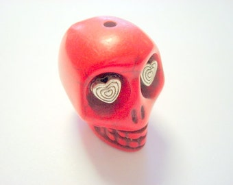 Gigantic Red Howlite Skull Bead or Pendant  with Silver Hearts in Eyes