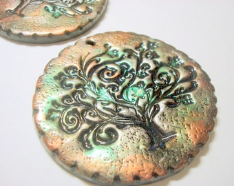 Twirly Tree of Life Yggdrasil Handmade Polymer Clay Ornament