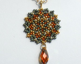 Beaded Single Mandala Necklace / Coppery Swarovski Crystal Briolette / Gold-Filled Chain / Metallic Blue Green / Fall Colors - - - Apolline