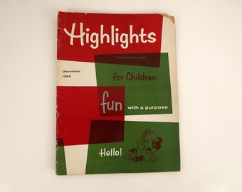Vintage 60s Kids Children's Magazine, December 1962 Highlights for Children Christmas Edition 1960s Monthly Book Boys Girls Puzzles Jokes