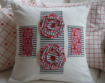 """French CoTTaGe Down Pillow/FloWers/ReD White/ShaBBy ChiC/TicKinG/Decorative 18"""" Throw Pillow/Beach Decor/Bedroom/Black Ticking"""