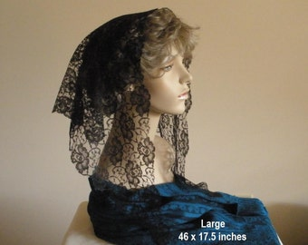 Black Lace Mantilla Headcovering Triangle Chapel Veil -- ECONOMICAL Style 101 -- Ready to Ship in 3 Sizes