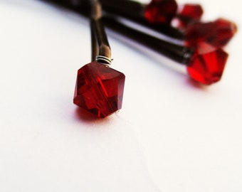Oxblood RED Crystal Bobby Pins (set of 6 wedding hair pins Swarovski crystals)