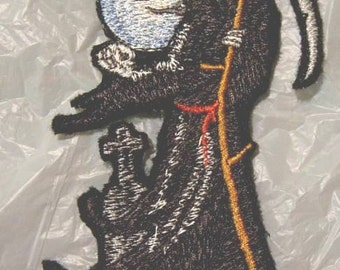 """Grim Reaper Iron on Applique - Patch 4"""" X 2.75"""" Made in USA"""