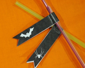 INSTANT DOWNLOAD (Digital) Spooky Straw Flags Halloween Table Decoration - Black and White with Bats and Spiders