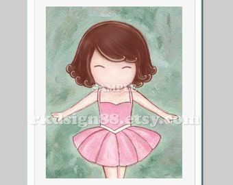 Ballerina nursery decor baby nursery art prints girl art childrens art ballet dance pink tutu brown hair Let's Dance 8 x 10