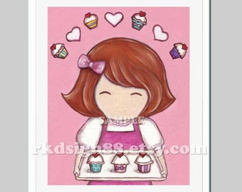 Childrens wall art print, baby girl nursery decor, kids housewares, art for kitchen, red hair, She Loves Cupcakes painting 8 x 10 print
