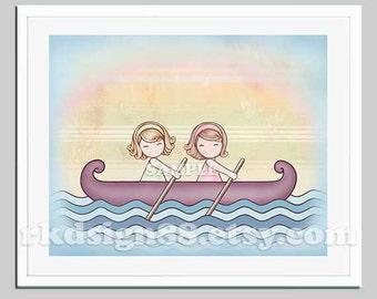 Kids wall art illustration, nursery art, nursery decor, children wall art, girls decor, row boat, two sisters art twin, blonde Stronger