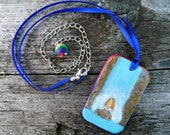 Elemental, Reversible Painted Polymer Clay Necklace