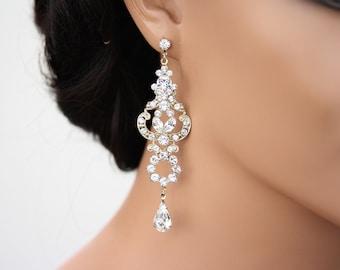 Gold Chandelier Earrings Bridal  Earrings Swarovski Crystal Wedding Earrings Art Deco Wedding Jewelry FRANCES TWO