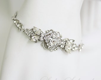 Bracelet for Bride Art Deco Wedding Bracelet Bridal Bracelet Delicate Rhinestone Filigree Cuff Simple Bridal Bracelet Silver KATRINA CRYSTAL