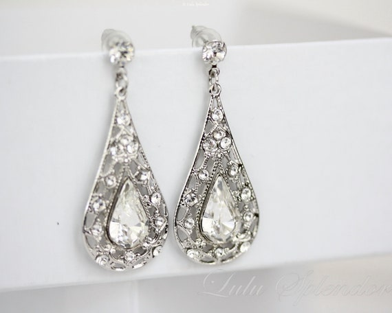 Teardrop Bridal Earrings Rhinestone Chandelier Earrings Silver Filigree Teardrop Wedding earrings Swarovski Crystal Wedding Jewelry MIER