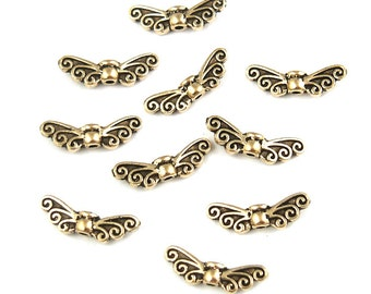 10 Fairy Wing Beads Antique Gold TierraCast Pewter Wing Beads Small Angel Wing Beads Metal Beads (P10)
