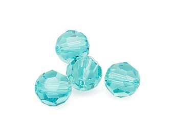 8mm LIGHT TURQUOISE Swarovski Beads - Swarovski Faceted Round Beads - Article 5000 8mm Lt Turquoise Blue Beads - Aqua Blue Green Teal