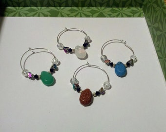 Oval stone wine charms