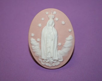 Large Pink Mary in Heaven Cameo Ring
