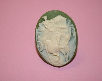 Large Green Cinderella Cameo Ring
