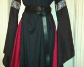 Black and Red Cotton 12thC style Angelsleeve Dress Sca Renaissance Larp Pagan Ready to Go