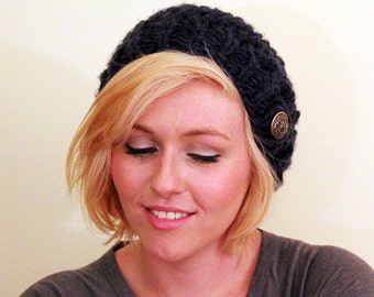 Chunky Slouch Hat With Button Tab - Navy