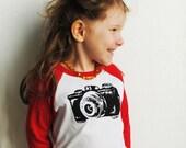 PRE-ORDER Camera Shirt.  Kids Shirt.  Red Raglan Toddler Shirt, sizes  2-4-6 toddler.