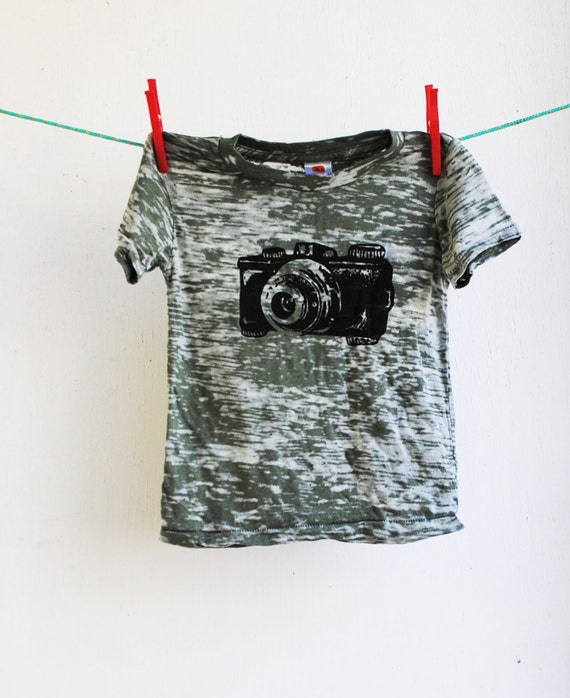 Camera Burnout T-Shirt,  Hand Dyed Olive Green and Screen printed in Black Ink, 2 toddler - SALE