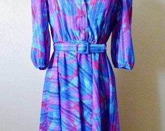 vintage ROCKABILLY blue/purple dress. geometric dress. secretary dress
