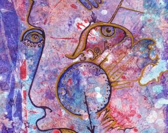 Miniature Abstract Outsider Art, Naive Art Style, Surrealist Art, Stouffville Artist Ingrid Schmelter, Imaginative Art, Unique Original Art