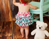 Fancy Ruffle Romper Red and Aqua  Available sizes: Newborn - 24 months