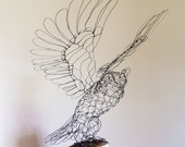 RESERVED FOR HT:  Great Horned Owl Wire Sculpture