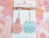 Kawaii Pink Bunny and Blue Kitty Earrings