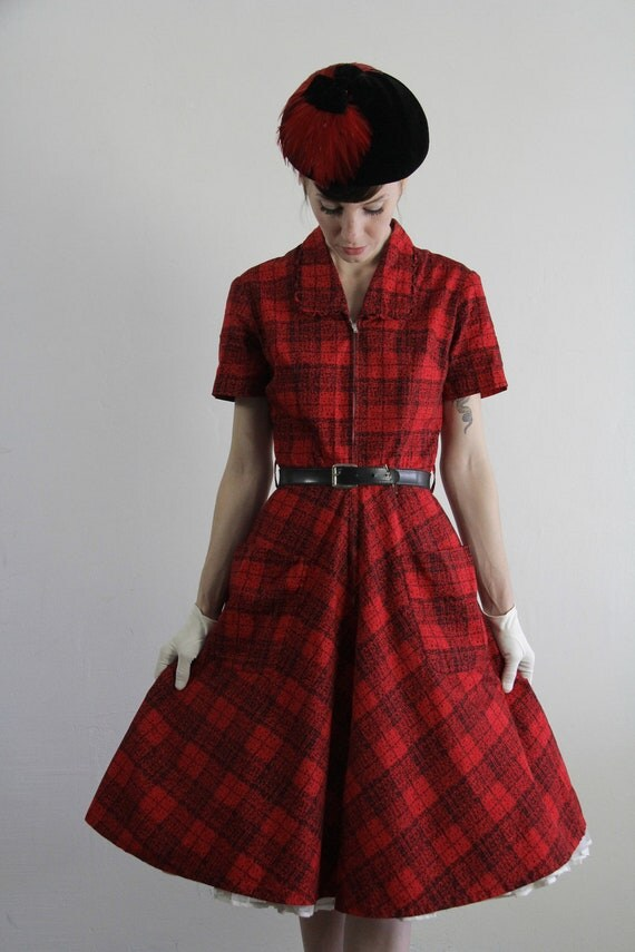 Reserved . Vintage 60s Dress . Red Plaid . Daydress . Cocktail Gown . Mid Century Party Frock . 1950s Mad Men