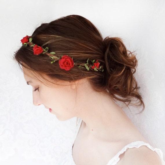 red flower hair circlet, red flower headband, bridal hair accessories, red rose - JOIELLE - flower girl head wreath