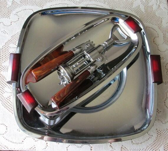 20% OFF Art Deco Chrome Trays Wine Corkscrew Red Bakelite Glo Hill Chrome Barware Gourmates
