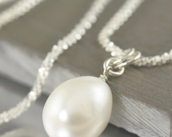 Pearl necklace with sterling silver chain, June Birthstone necklace white pearl necklace