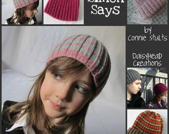 Beanie Knitting Pattern- Toque- Premie thru Adult Sizes- Simon Says Hat Pattern ONLY