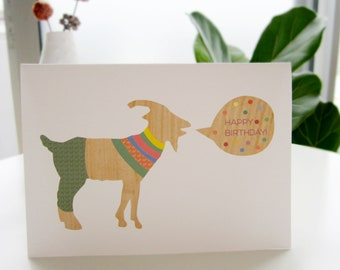 Happy Birthday Card . goat wishing you a happy birthday. unique cute colorful handmade card