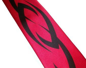 Men's necktie, Red and black tribal design, custom tie by RokGear