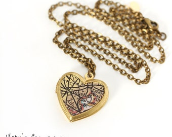 Houston Map Necklace, Vintage Brass Heart Locket, Antique Texas Map, Map Locket, Gift under 40