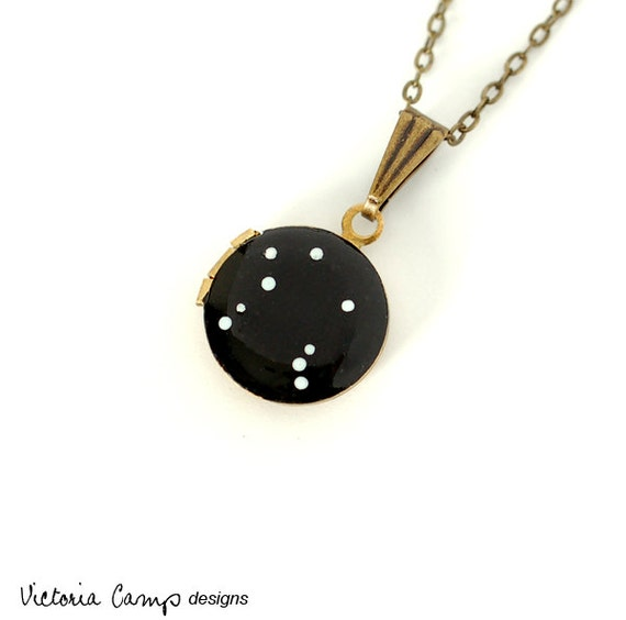 Libra Star Sign Zodiac Constellation Necklace on Vintage Tiny Locket - Hand Painted - September October Birthday, Scales