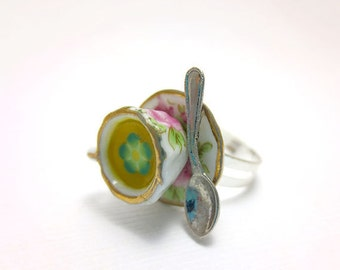 Mint Tea Cup Ring, Miniature Food Jewelry, Polymer Clay Food Jewelry