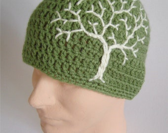 Beanie with Tree of Life Tree Beanie Mens Hat Guys HatTree Hat Womens Hat Hippie Hat Gypsy Hat Sage Green and Cream - MADE TO ORDER